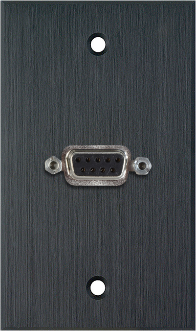1G Black Anodized Wallplate w/One 9-Pin D-Sub Rear Solder Connector