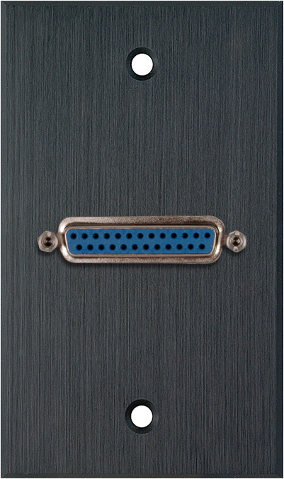 1G Black Anodized Aluminum Wall Plate w/One 25-Pin D-Sub Female Barrel