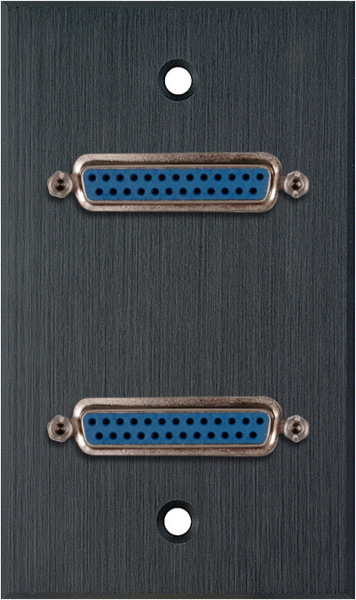 1G Black Anodized Wall Plate w/Two 25-Pin D-Sub Female Barrels