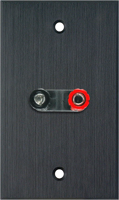 1G Black Anodized Aluminum Wall Plate w/1 Dual Binding Post Connector