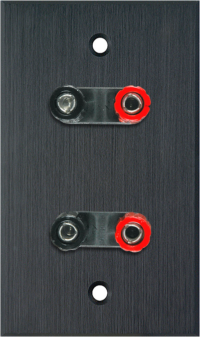 1G Black Anodized Aluminum Wall Plate w/2 Dual Binding Post Connectors