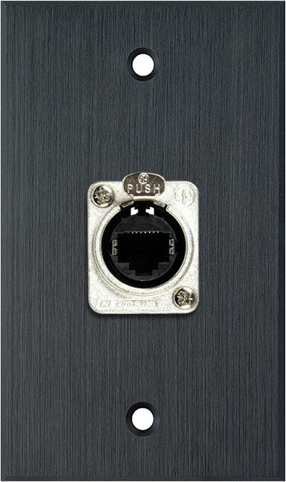 1G Black Anodized Wallplate w/1 Neutrik RJ45 To Rear Krone Terminals