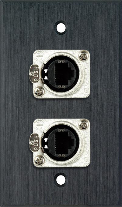 1G Black Anodized Wallplate w/2 Neutrik RJ45 To Rear Krone Connectors