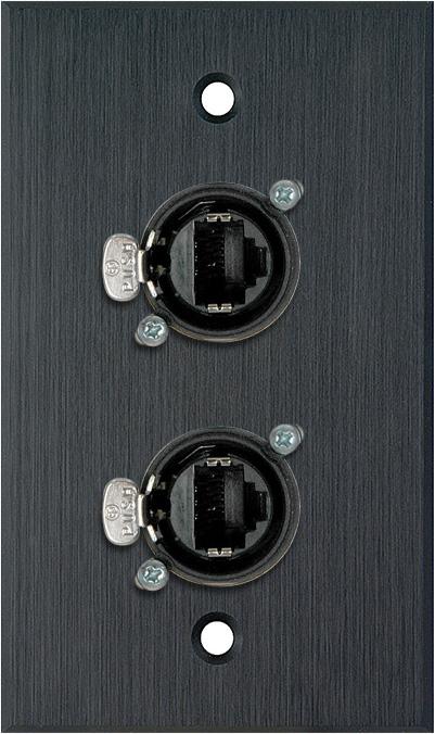 1G Black Anodized Wallplate w/2 Neutrik RJ45 To Rear IDC110 Terminals