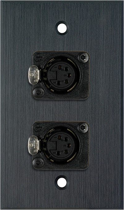 1G Black Anodized Aluminum Wall Plate w/Two 5-Pin XLR DMX Connectors