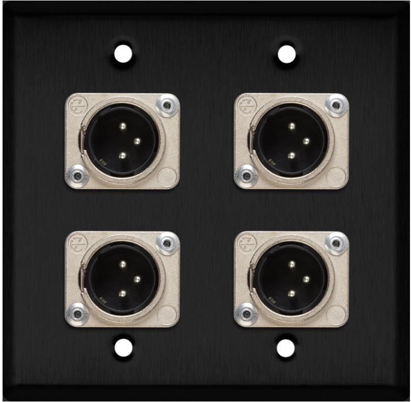 2-Gang Black Anodized Wall Plate w/4 Neutrik XLR 3-Pin Male Connectors