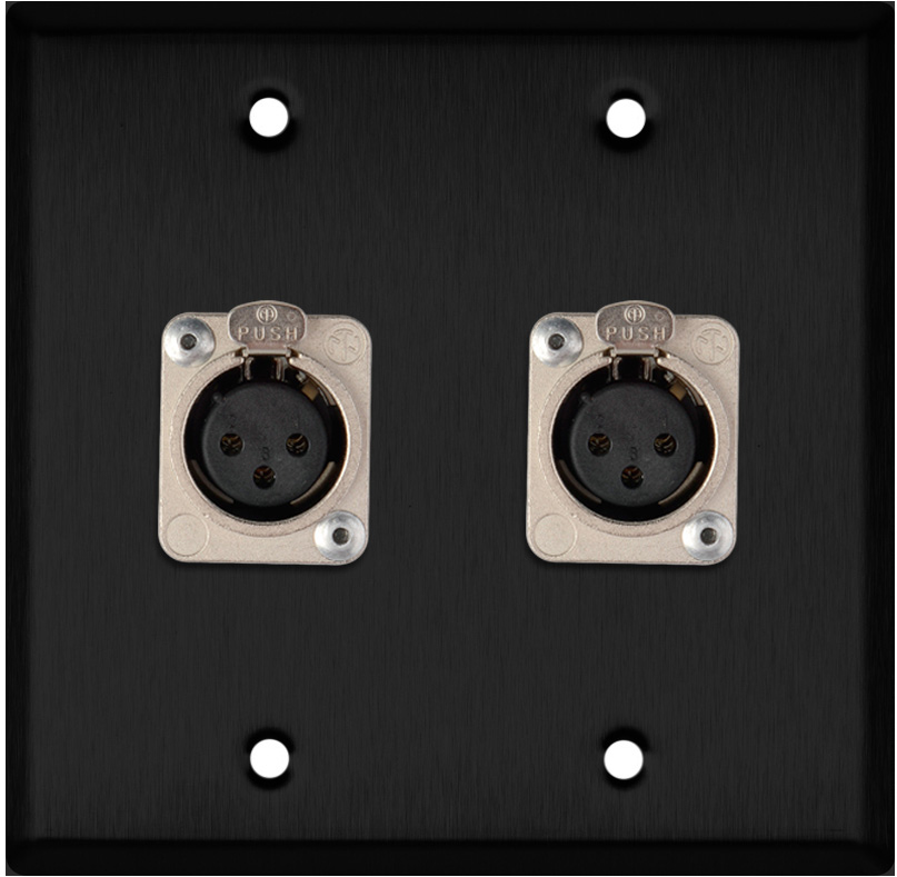 2-Gang Black Anodized Wall Plate w/2 Neutrik Latching 3-Pin XLR-Fs