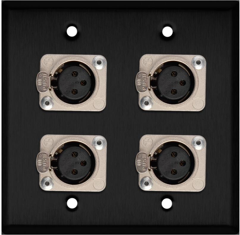 2-Gang Black Anodized Wall Plate w/4 Neutrik Latching 3-Pin XLR-Fs