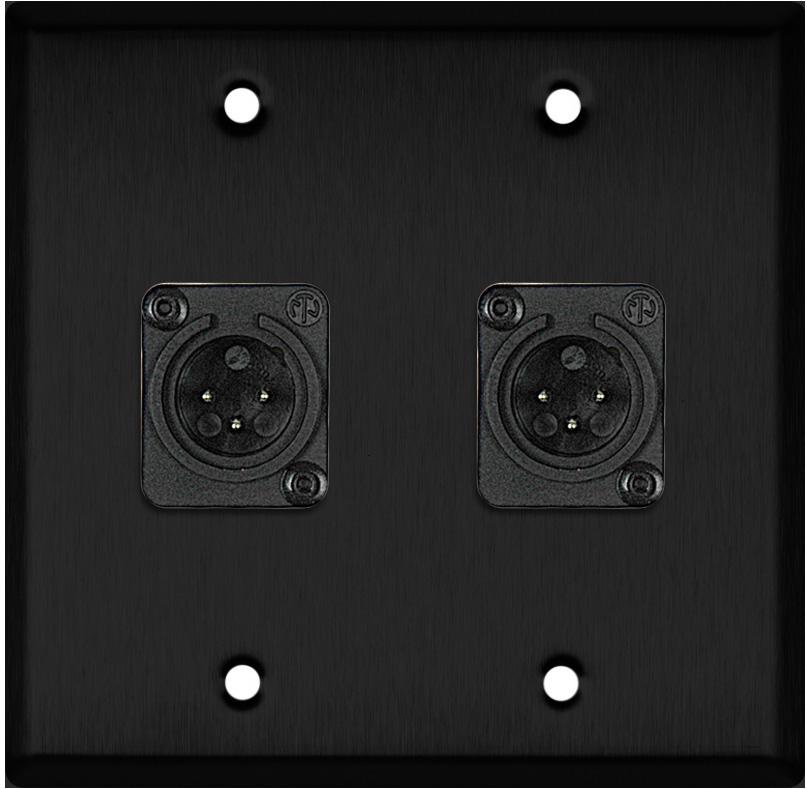 2 Gang Black Anodized Wallplate w/2 Neutrik Plastic 3-Pin XLR-Ms