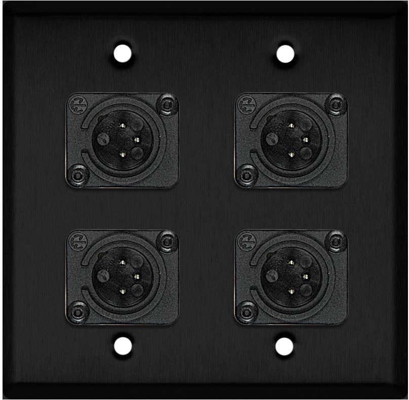 2G Black Anodized Aluminum Wall Plate w/4 Neutrik Plastic 3-Pin XLR-Ms