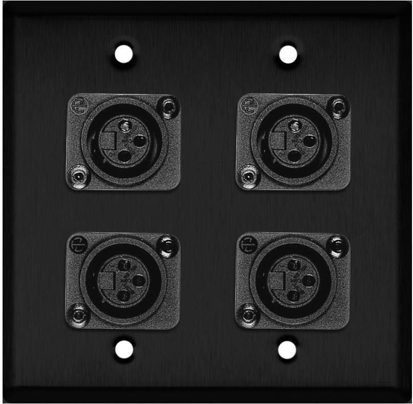 2-Gang Black Anodized Wall Plate w/4 Plastic Latchless 3-Pin XLR-Fs