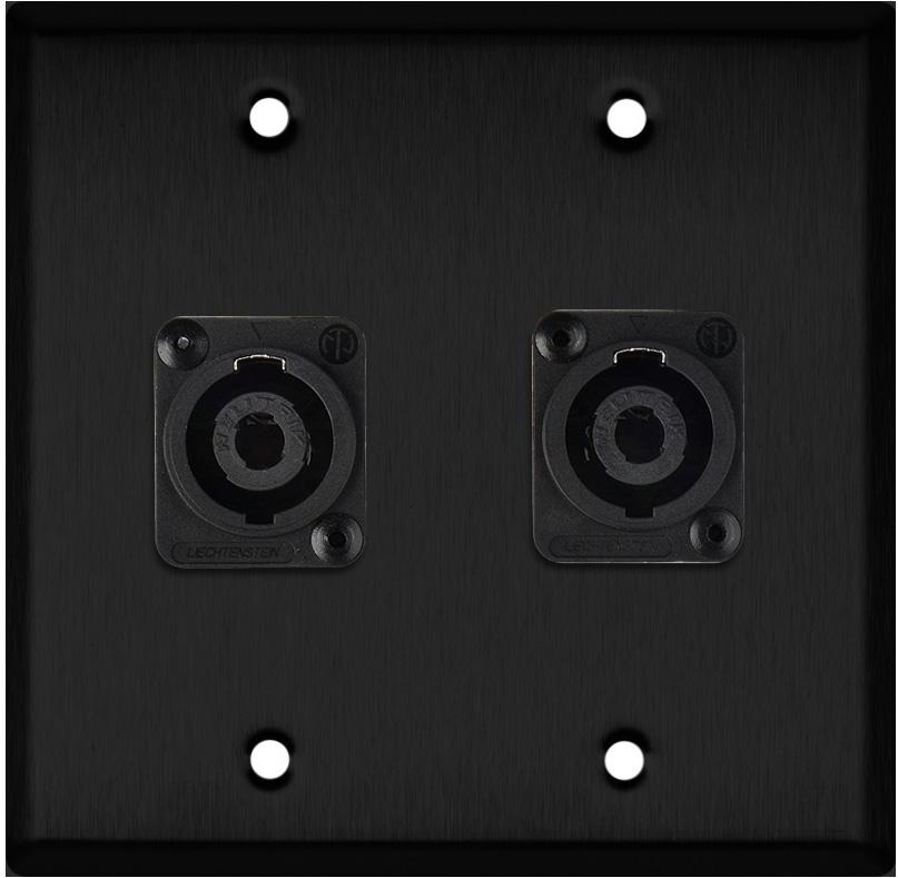 2G Black Anodized Wallplate w/2 Neutrik NL4MP -D-Series 4 Pole Speakon