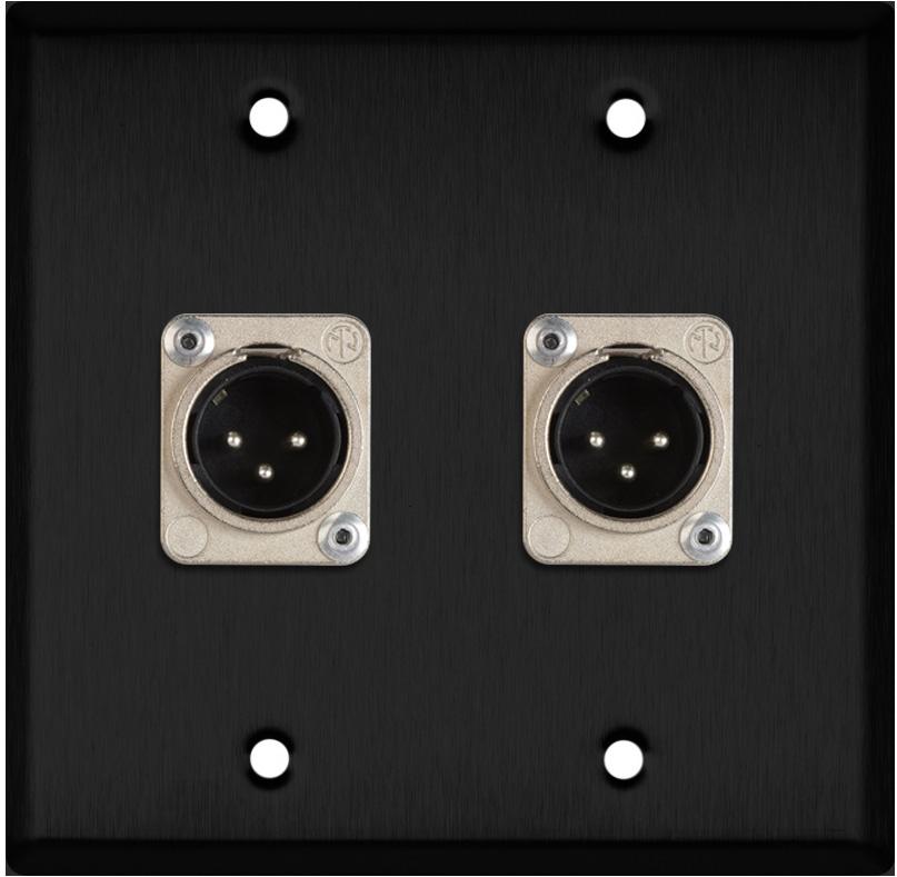 2-Gang Black Anodized Wall Plate w/2 Neutrik XLR 3-Pin Male Connectors