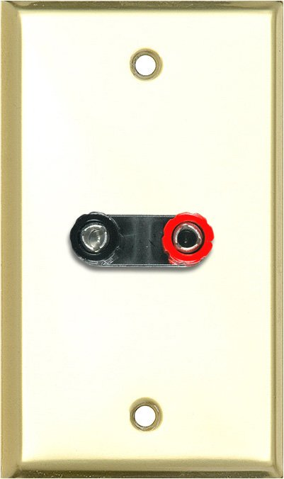 1G Brass Anodized Aluminum Wall Plate w/1 Dual Binding Post Connector