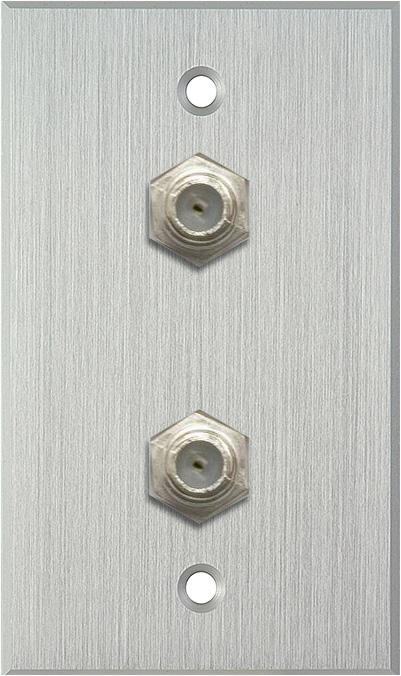 1G Clear Anodized Wallplate w/2 Coax F Connector Feed-Thru Barrels