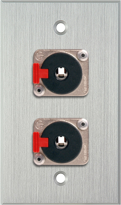 1G Clear Anodized  Wall Plate with 2 Neutrik NJ3FP6C 1/4-Inch TRS Latc