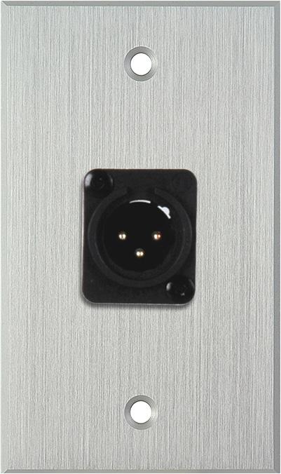 1G Clear Anodized Wallplate w/Neutrik 3-Pin XLR Maile-Terminal Block