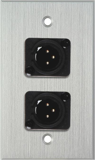 1G Clear Anodized Wallplate w/2 Neutrik NC3MD-L-1-B Connectors