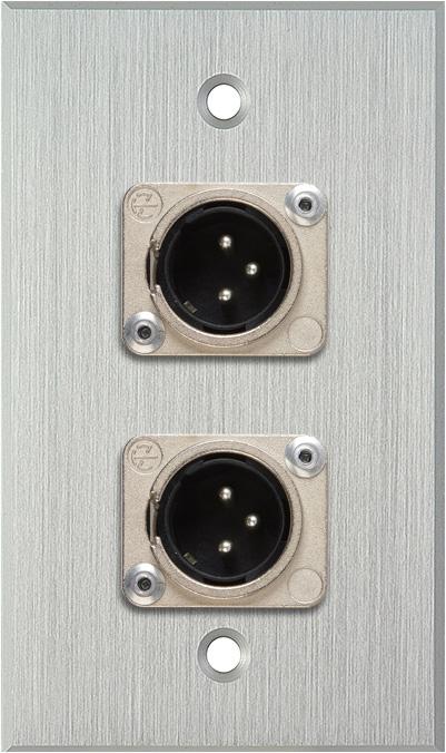 1G Clear Anodized Wallplate w/2 Neutrik 3-Pin XLR-M Connectors