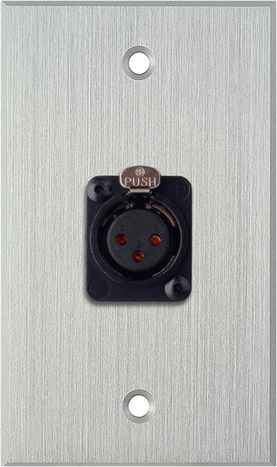 1G Clear Anodized Aluminum Wall Plate w/Neutrik XLR-F-Terminal Block