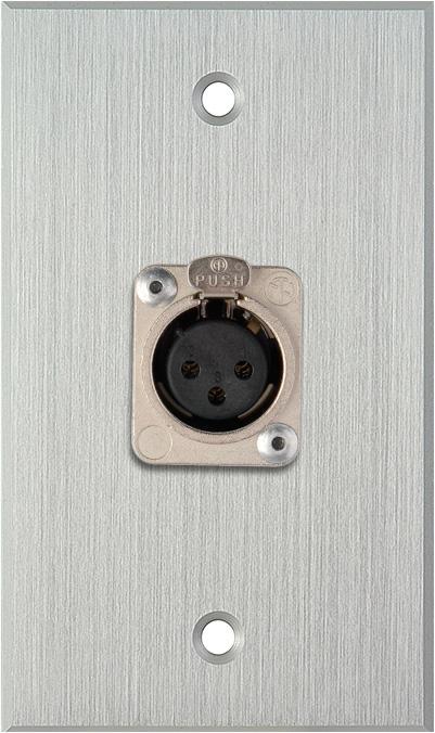 1G Clear Anodized Wallplate w/1 Neutrik 3-Pin XLR-F Connector