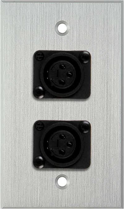 1G Clear Anodized Wallplate w/2 Plastic Latchless 3-Pin Female XLR