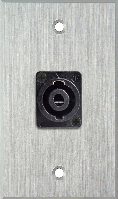 1G Clear Anodized Wallplate w/One 4-Pole Speakon Male Connector