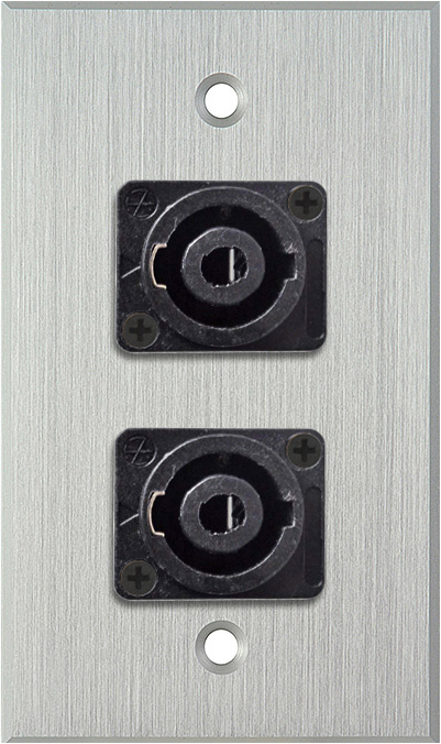 1G Clear Anodized Wallplate w/Two 4-Pole Speakon Male Connectors