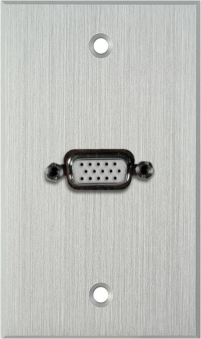1G Clear Anodized Wallplate w/1-HD 15-Pin Female Rear Solder Points