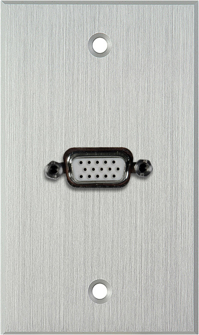 1G Clear Anodized Wallplate w/Single VGA HD 15-Pin Female Barrel