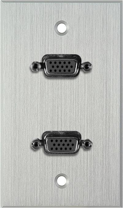 1G Clear Anodized Wallplate w/Two VGA HD 15-Pin Female Barrels