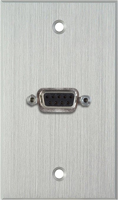 1G Clear Anodized Wallplate w/One 9-Pin D-Sub Rear Solder Connector
