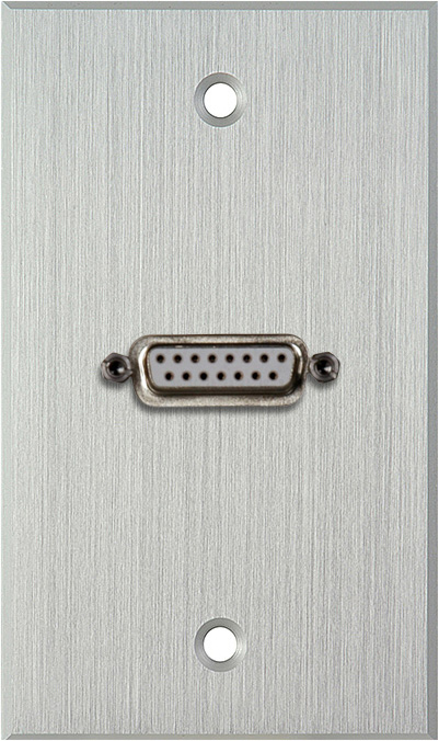 1G Clear Anodized Wallplate w/One 15-Pin Female Rear Solder Connector