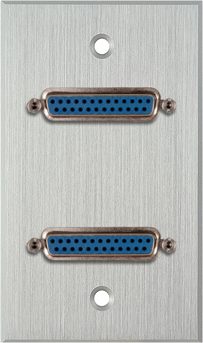 1G Clear Anodized Wall Plate w/Two 25-Pin D-Sub Female Barrels