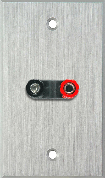 1G Clear Anodized Aluminum Wall Plate w/1 Dual Binding Post Connector