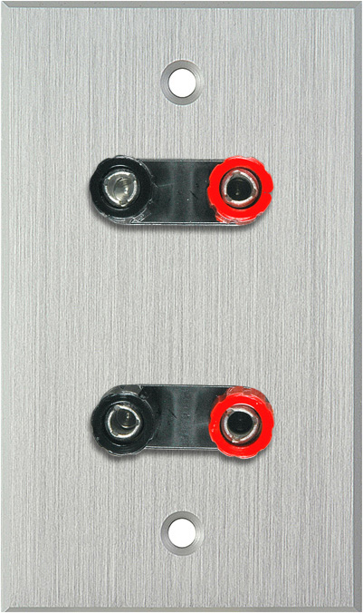 1G Clear Anodized Aluminum Wall Plate w/2 Dual Binding Post Connectors
