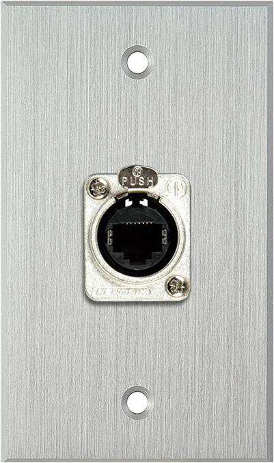 1G Clear Anodized Wallplate w/1 Neutrik RJ45 To Rear Krone Terminals