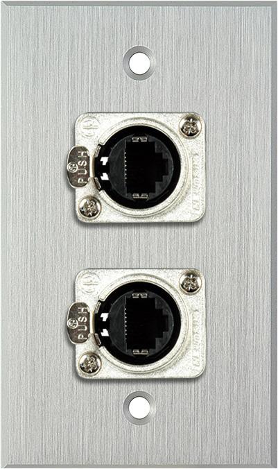 1G Clear Anodized Wallplate w/2 Neutrik RJ45 To Rear Krone Connectors