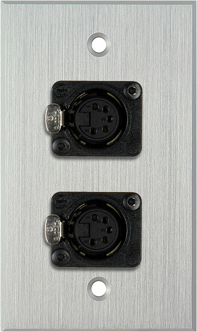 1G Clear Anodized Aluminum Wall Plate w/Two 5-Pin XLR DMX Connectors