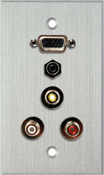 1G Clear Anodized  HD15-Pin F-Barrel/3 RCA Barrels/1 Mini Jack 3.5mm f