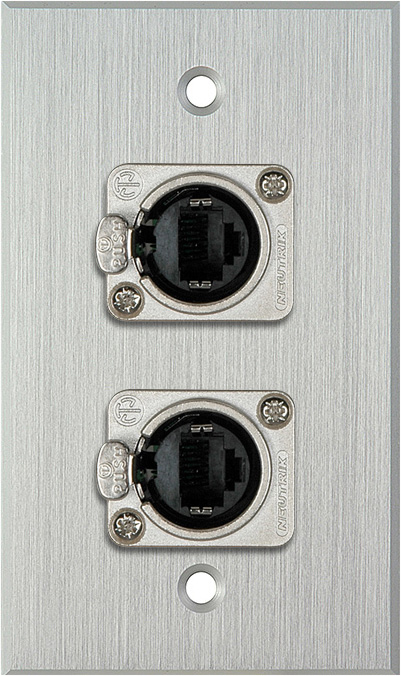 1G Clear Anodized Wallplate w/2 Neutrik NE8FDP Barrel Connectors