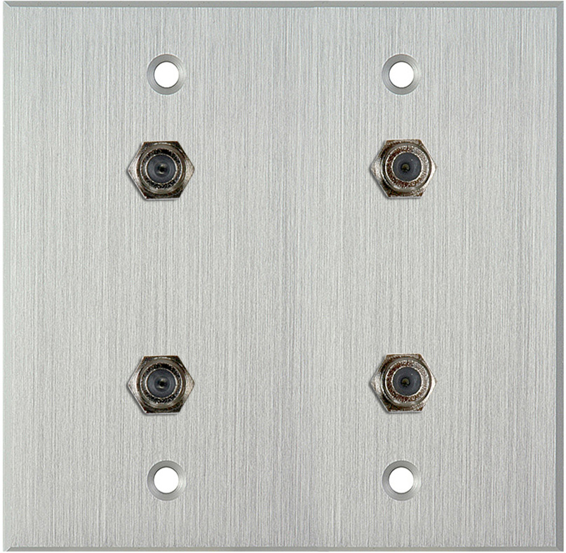2G Clear Anodized Aluminum Wall Plate w/4 F- Female Barrel Connectors