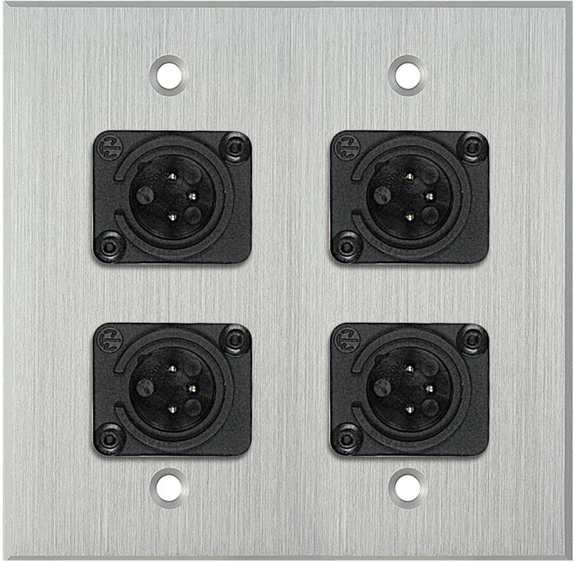 2G Clear Anodized Aluminum Wall Plate w/4 Neutrik Plastic 3-Pin XLR-Ms