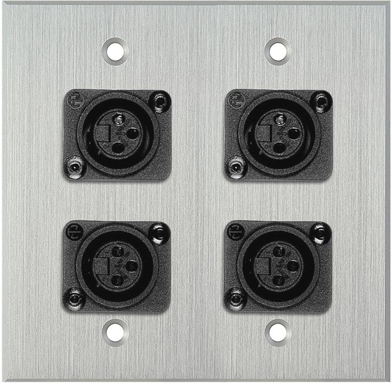 2-Gang Clear Anodized Wall Plate w/4 Plastic Latchless 3-Pin XLR-Fs