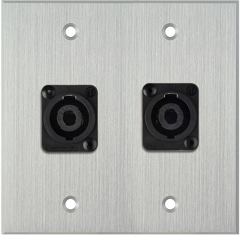 2G Clear Anodized Wallplate w/2 Neutrik NL4MP -D-Series 4 Pole Speakon