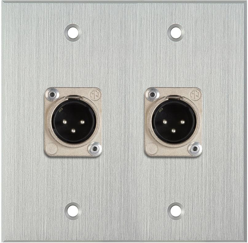 2-Gang Clear Anodized Wall Plate w/2 Neutrik XLR 3-Pin Male Connectors