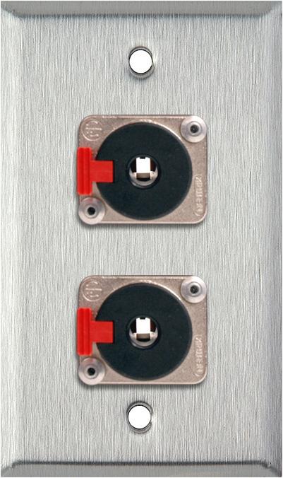 1G Stainless Wall Plate w/2 Neutrik NJ3FP6C 1/4-In. TRS Latching Jacks