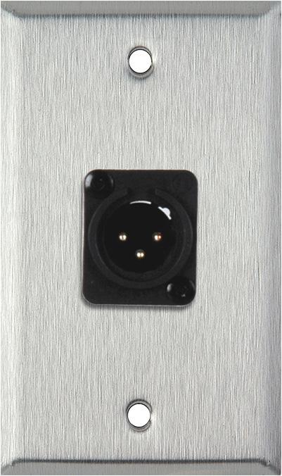 1-Gang Stainless Steel Wall Plate w/Neutrik 3-Pin XLR-M Terminal Block
