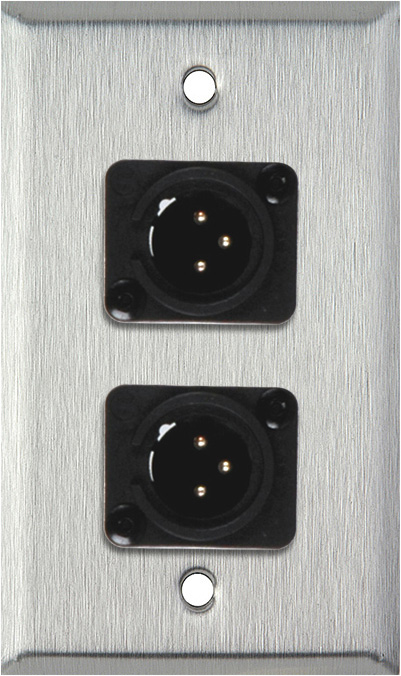 1 Gang Stainless Steel Wall Plate w/2 Neutrik NC3MD-L-1-B Connectors