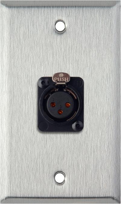 1-Gang Stainless Steel Wall Plate w/Neutrik 3-Pin XLR-F-Terminal Block